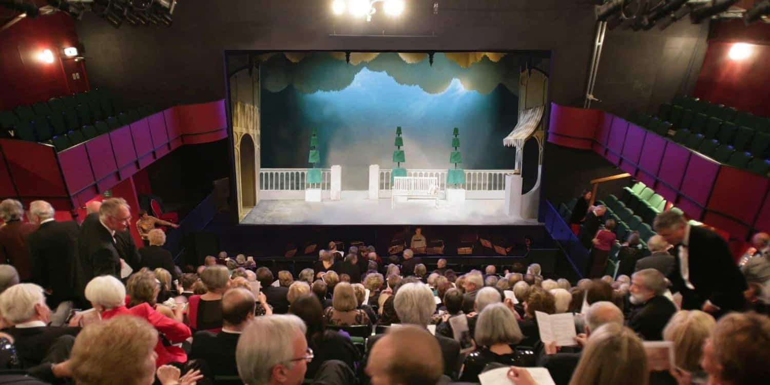 Image of the auditorium from the back row. Showing a packed theatre, facing the stage